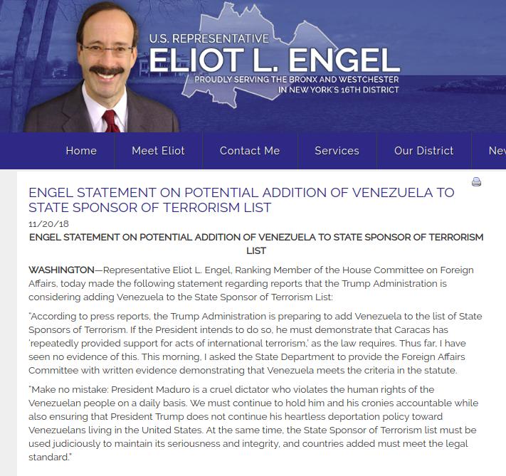 REPRESENTANTE ELIOT ENGEL CONTINÚA BLOQUEANDO LA POTENCIAL INCLUSIÓN DE VENEZUELA EN LA LISTA DE PAÍSES QUE APOYAN EL TERRORISMO